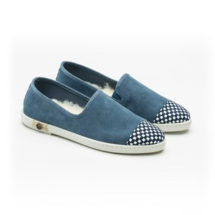Slippers en croute de cuir - Sunburn Blue