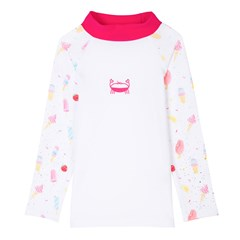 T-shirt de bain Anti UV imprimé rose & blanc - TOM