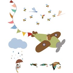 Sticker mural XL enfant avion multicolore