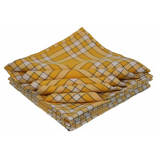 Lot de 10 bavoirs enfant coton carreaux vichy Normand - CLEAN KID - Jaune