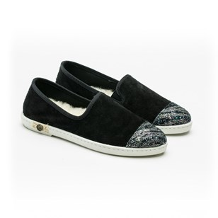 Slippers en croute de cuir - Sunburn Black
